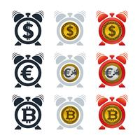 Alarm clock icons with currencies