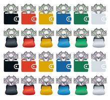 Icônes de portefeuille coloré avec des billets