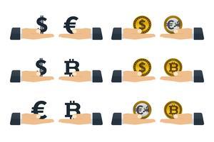 Conceptos de intercambio de monedas.