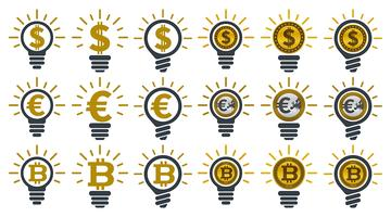 Light bulbs with currencies