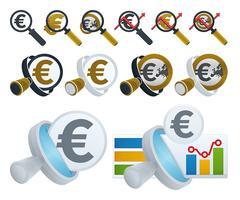 Lupe und Euro-Symbole