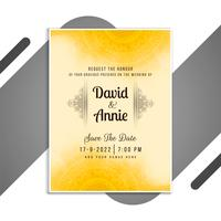 Yellow mandala wedding invitation