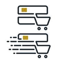 Icone del carrello di acquisto a forma di carta di credito
