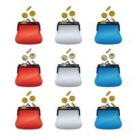 Icônes de portefeuille coloré avec des pièces