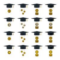 Monedas que salen de gorras de graduación