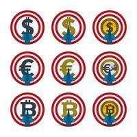 Valute e frecce sulle schede target