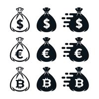 Money bag icons with currency symbols