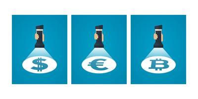 Currency symbols under spotlight