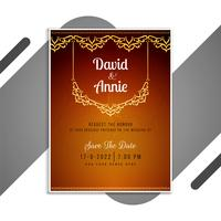 Orange and red ornamental wedding invitation