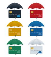 Ícones de guarda-chuva com cartões de crédito