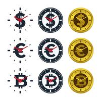 Clock icons with currencies