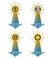 Ícones de farol com moedas