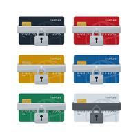 Símbolos de cadeado em cartões de crédito com padrão de globo delineado