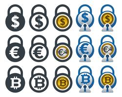 Padlock icons with currencies