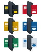 Escudo, ícones, com, cartões crédito