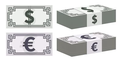Dollar and euro banknote icons