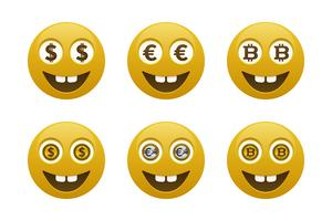 Smiley emoticons with currencies