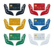 Hand icons with globe patterned credit cards