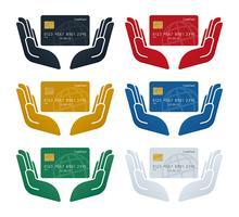 Mão, ícones, com, globo, patterned, cartões crédito