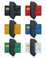 Sköldikoner med jordklotmönstrade kreditkort