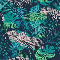 Seamless pattern of tropical plants with patterns vector