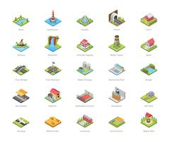 Architecture and Recreational Activities Icons vector
