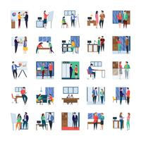 Business Meetings and Office Flat Icon Set