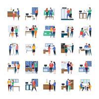 Pack di icone piane per riunioni aziendali e lavori in corso