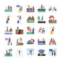 Set di icone di viaggi e turisti