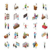 College and University Students Flat Icons Set