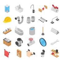 Plumber, Toilet and Bath Shower Isometric Vectors
