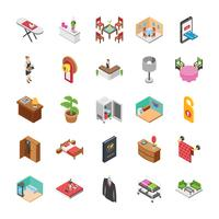 Hotel Isometric Vectors Set