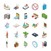 Conjunto de iconos isométricos del hotel