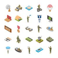 Isometric Icons Of Military Special Forces Army