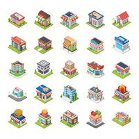 Supermarket and Other Stores Flat Icons Set