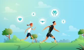 Running Couple With Health Stats  vector