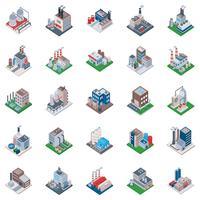 Ícones isométricos de edifícios industriais