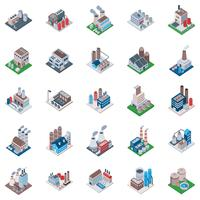 Factory Buildings Isometric Icons