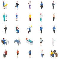 Professional People Isometric Icons Set  vector