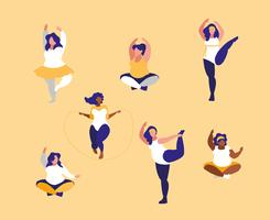 group of big women exercising