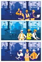 people working in factory scene vector