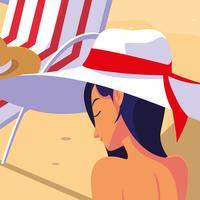 kvinnans profil med baddräkt på stranden