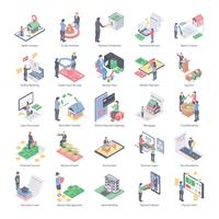 Online Banking Isometric Icons vector