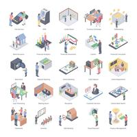 Bank People Isometric Icons