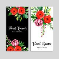 Akvarell blommig banneruppsättning