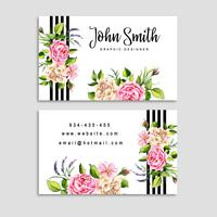 Watercolor Floral Visiting Card with Stripes vector