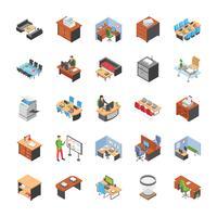 Pack di icone sul posto di lavoro di ufficio