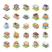 Shopping Mall and Other Stores Flat Icons vector