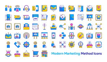 Moderne marketingmethode Icon Set