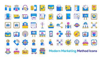 Moderne marketingmethode Icon Set